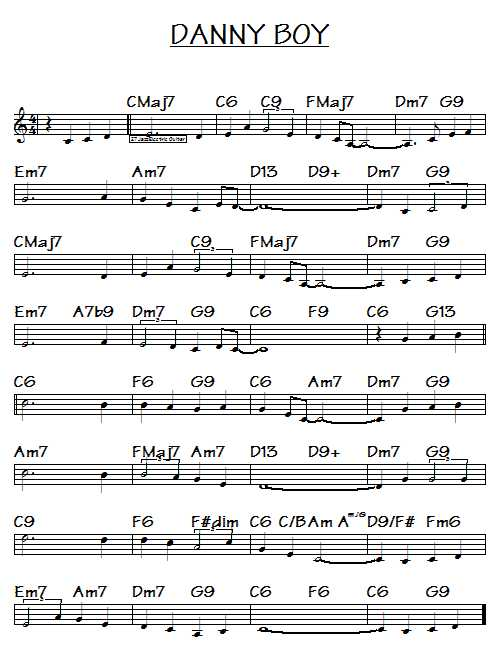 Danny boy song cords-sheet music for danny boy with lyrics