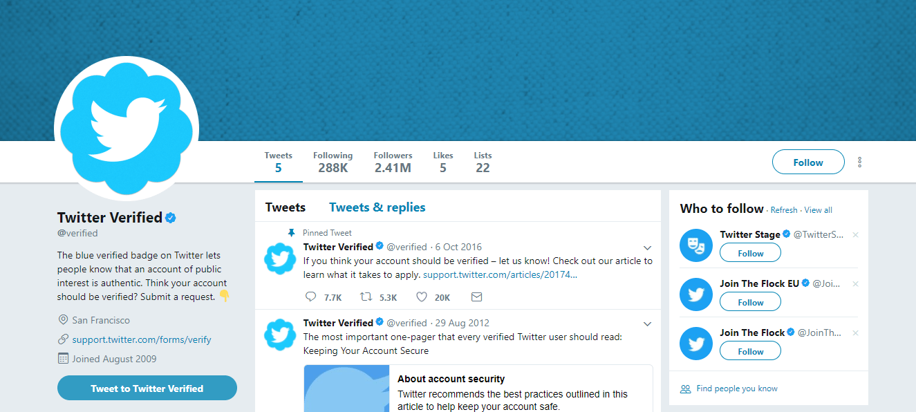 Twitter screengrab for How To Get Verified On Twitter articles