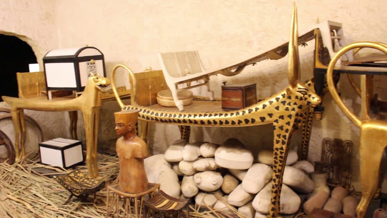 King Tut, Cairo, Egypt - Tutankhamun's Mummy and Some Treasures Found in the Pharaonic Village Tomb