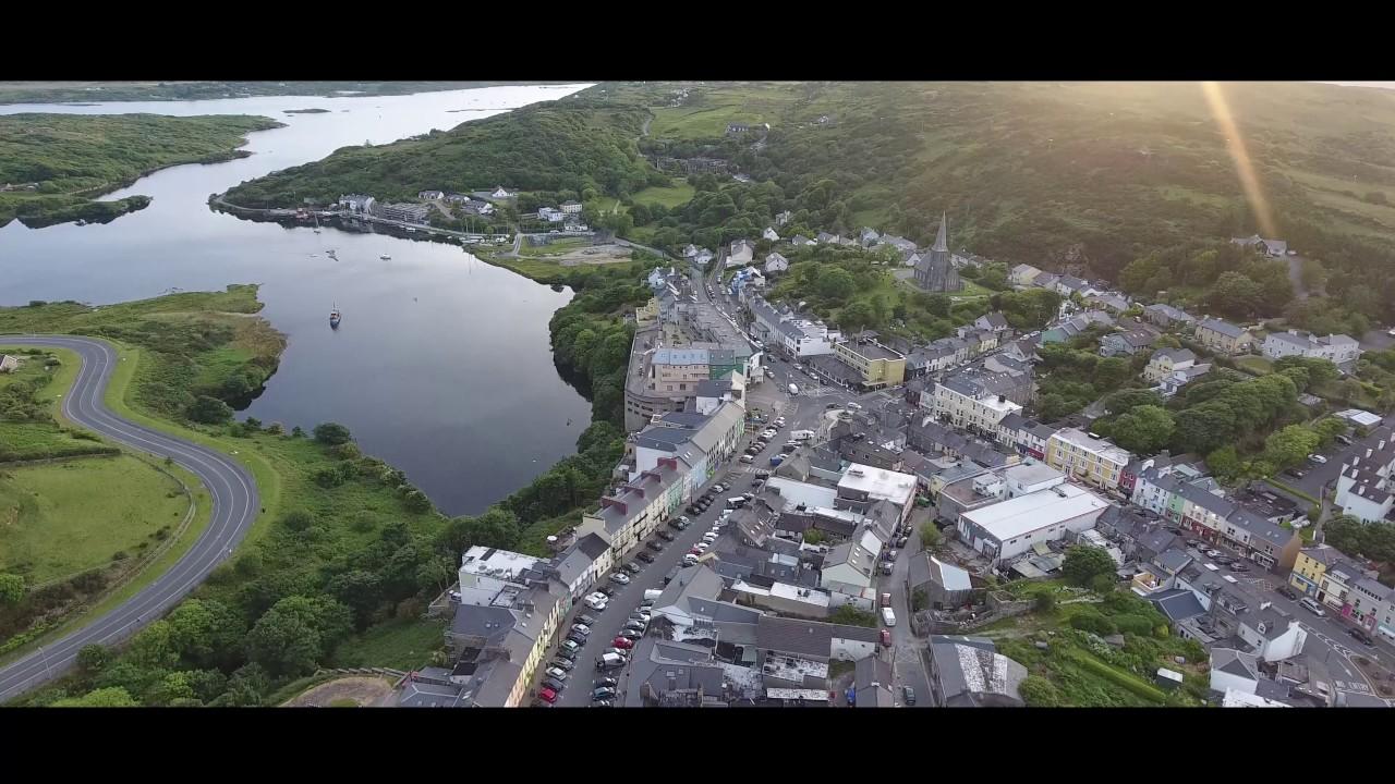 Clifden Co. Galway - Connemara - The Capital of Connemara on the Owenglin River - Drone - Ireland