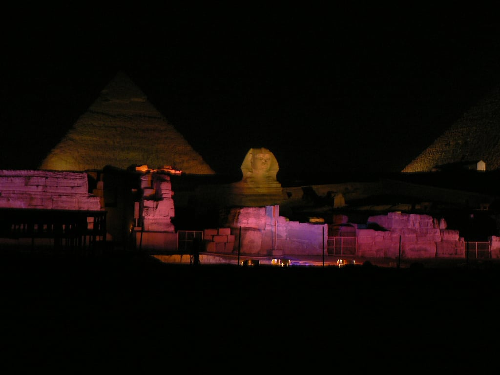 The Pyramids of Giza at night