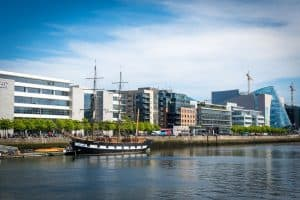 View of the Jeanie Johnston on a river in Dublin