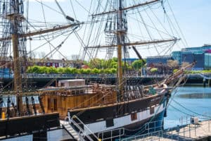 The Jeanie Johnson ship up close, ready to board passengers