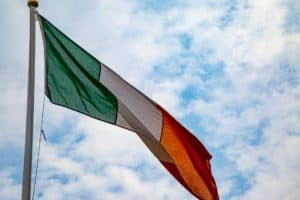 Irish Tri-colour flying in clear sky