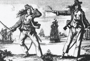 An old drawing of Pirate Queen Grace O Malley in a face off in Ireland