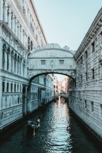 The bridge of sighs located within a palace in Venice