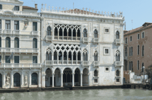 The exterior of Ca' d'Oro taken from the river in Venice