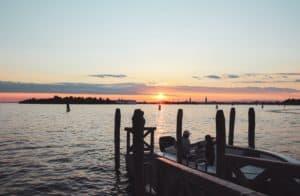 Lido di Venezia at sunset in Venice