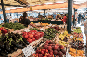 Vibrant fruits and vegetables bombard the Rialto Market in Venice