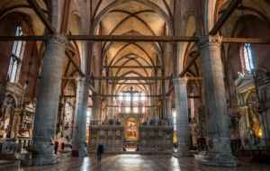The interior pillars of Santa Maria Gloriosa dei Frari in Venice