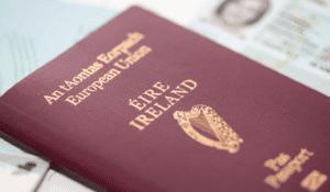 irish passport lays on the table waiting to be taken to South Korea