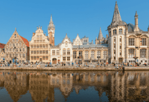 a city overview of Ghent taken from the river.