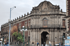 The entrance to the Palace of the Inquisition stands tall and regal in Mexio