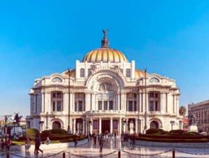 Palacio de Bellas Artes dead center in this photo in Mexico