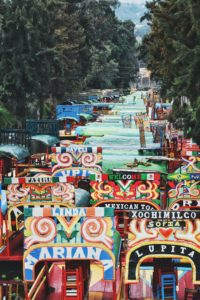 Carts stacked on top of each other in Xochimilco Mexico