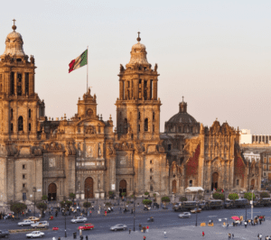 One of the best places to visit in Mexico City, Zocalo is gorgeous when the evening sun hits it.