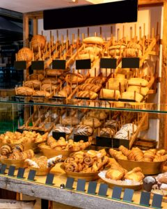 A display of French Breads at a market