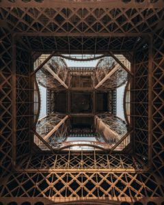 An inside view of the ironwork on the Eiffel Tower in Paris, France