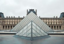A photograph of IM Pei's Pyramid at the Louvre museum in Paris, France