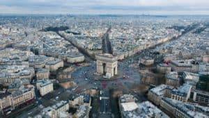aerial view of the arc de triumph in Paris, France