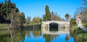 A photo of reflections of trees int he Canal du Midi