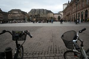 2 bikes at one of the place squares in Strasbourg