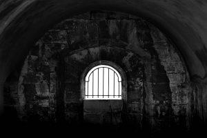 A castle's prison cell window in Portsmouth UK