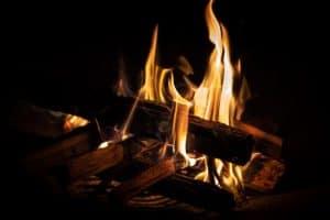 A crackling fireplace