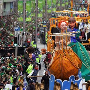 A photo of the floats in a St. Patrick's Day parade in Ireland