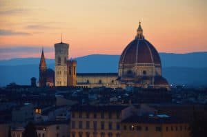 A stunning sunset over Florence Italy