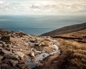 A stunning view of the ocean from the Mourne Mountains