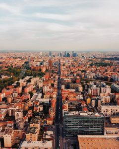 An aerial view of the city of Milan, Italy