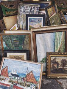 Artwork for sale at a flea market