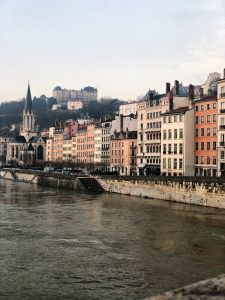 Buildings on the water in Lyon, France