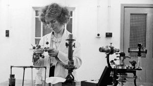 Dame Kathleen in a research lab