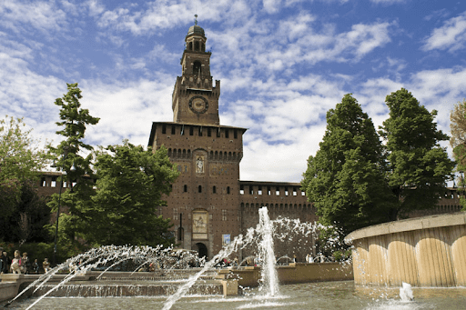 The stunning exterior of Sforza Castle