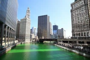 The Chicago River Dyed Green for St. Patrick's Day