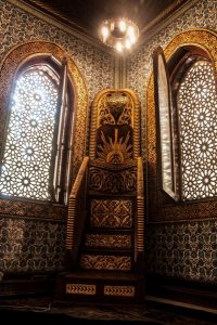 The minbar inside the mosque at Mohamed Ali Palace