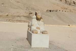 The remains of a sphinx statue at Karnak Temple