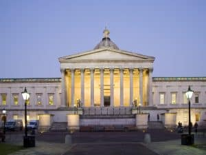 A photo at dusk of University College London