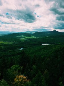 Green Adirondack mountains on a cloudy day