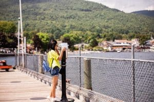 Girl looking out over Lake George in the Adirondack Mountains