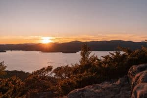 Adirondack mountains during a beautiful sunset over Lake George