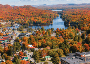Aerial view of Old Forge in the fall months, located in the Adirondack mountains