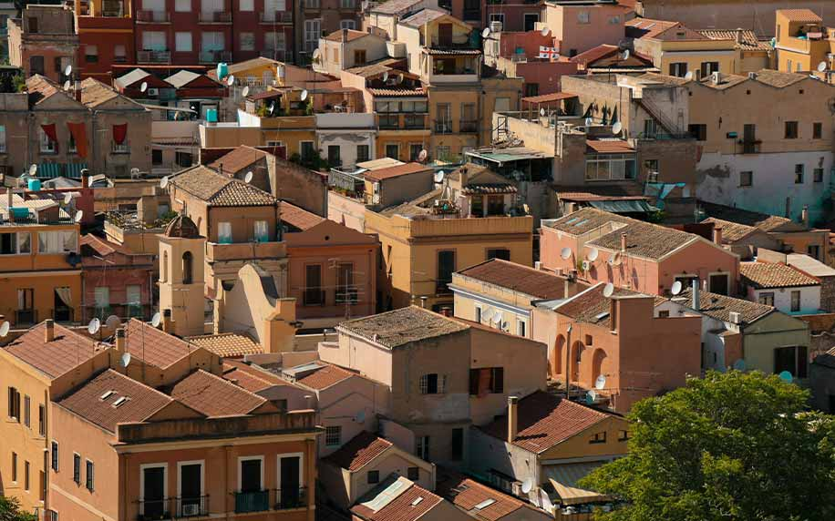 The rooftops of Cagliari, Sardinia