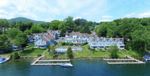 Lakegront view of The Quarters hotel located in Lake George at the Adirondack mountains