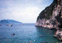 a shot of the ocean and coastline of the amalfi coast
