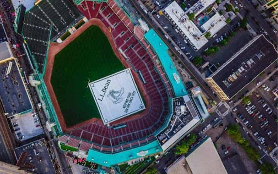 an aerial view of fenway park boston