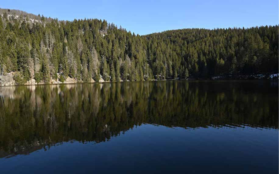 a shot of le lac vert otherwise known as the green lake