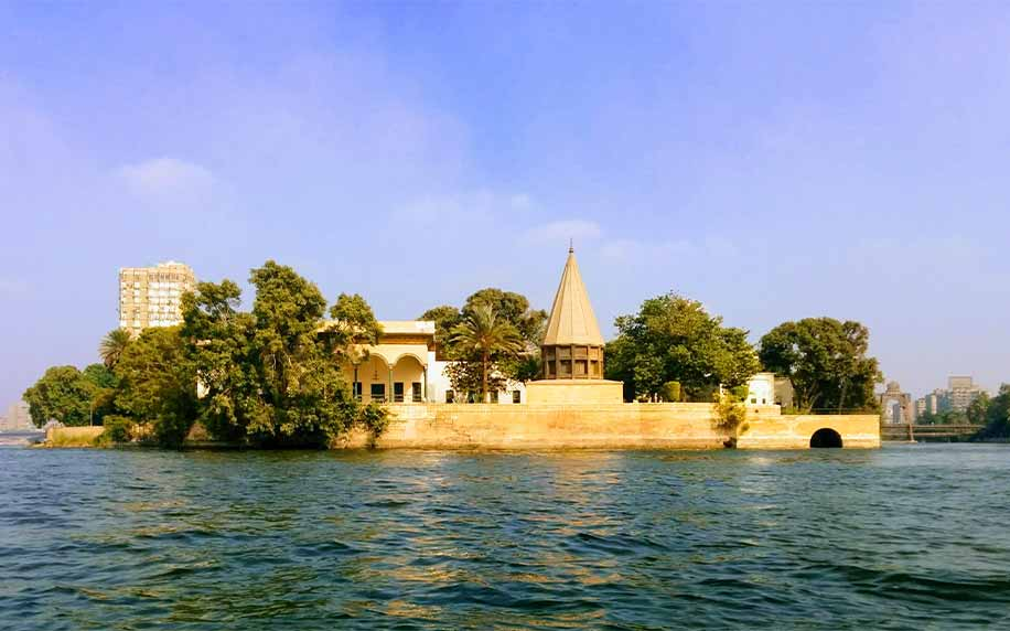 a shot from the nile of masesterly palace and its nilometer